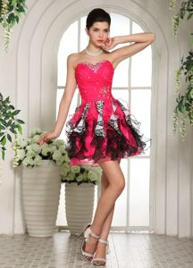 Leopard Print Beaded Hot Pink and Black Short Prom Dress with Ruffled Hem