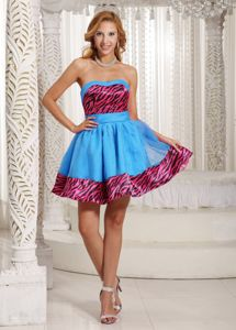 Zebra Print Colorful Short 50s Style Swing Prom Dresses Free Shipping