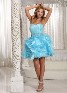 Girly Organza Aqua Blue Short Cupcake Senior Prom Dresses for Cheap