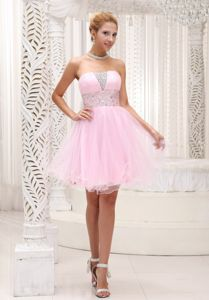 Pretty Strapless Organza Baby Pink Puffy Short Prom Attire in Fashion