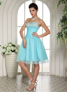 Puffy Sweetheart Beaded Aqua Blue Short Prom Dress in Hope Mills NC