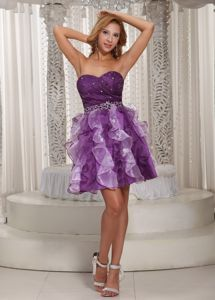 Plus Size Beaded Eggplant Purple Short Prom Dress with Ruffled Hem