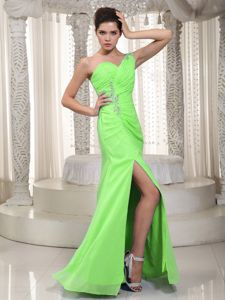 One Shoulder Appliqued Slitted Formal Junior Prom Dress in Spring Green