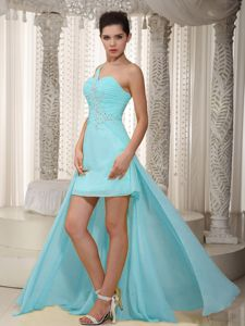 Ruched Beaded Aqua Blue Dress for Prom High-low One Shoulder under 150