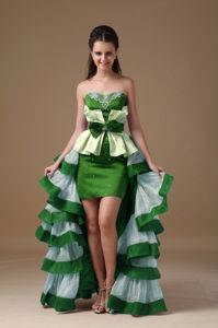 Special Style Multi-color High-low Ruffled Prom Attire with Peplum