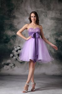 Puffy Organza Beaded Short Lavender Prom Dress with Sash in Horse Shoe NC