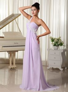 Zipper-up One Shoulder Appliqued Lilac Prom Dresses for Flat Chested Girls