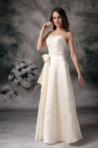 Elegant Beaded Off White Long Formal Dress for Prom with Flowers Wholesale