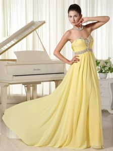 La Moure ND Hot Sale Yellow Long Chiffon Prom Dress with Beading