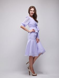 V-neck Half Sleeves Lilac Short Junior Prom Dress with Peplum and Sash
