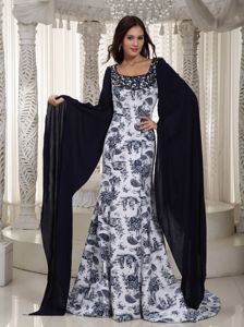 Ashley ND Square Printing Black and White Prom Dress with Big Long Sleeves