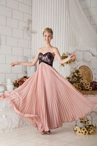 Pleated Peach Long Prom Gown Dress for Summer with Black Lace on Bodice