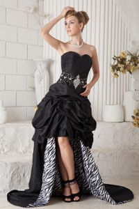 Sweetheart High-low Zebra Print Black Dresses for Prom with Pick-ups