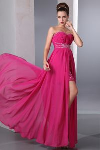 Hillsboro NK Popular Beaded High-low Hot Pink Prom Dress Free Shipping