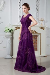 Qualified Purple A-line Scoop Neck Appliqued Prom Dress in Dickinson ND