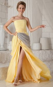 Chiffon Strapless Ruched Slitted Yellow Prom Gowns Brush Train in USA