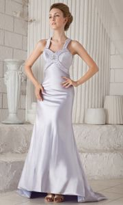 low Price Straps Beaded Lilac Long Prom Dress with Cut out Back