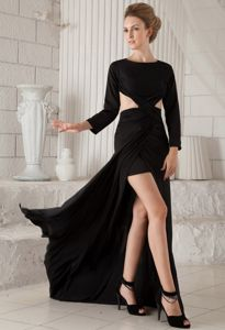 Black Long Sleeves Sheath Brush Train Prom Outfits with Cutouts and Silt in Downsville