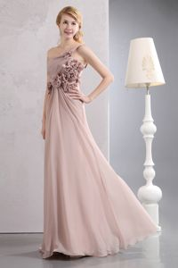 Unique One Shoulder Light Pink Empire Prom Dresses with Hand-made Flowers in Dane