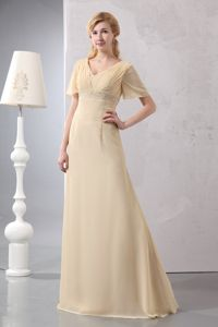 V-neck Short Sleeves Light Yellow Prom Dresses in Floor Length with Ruches in Heflin