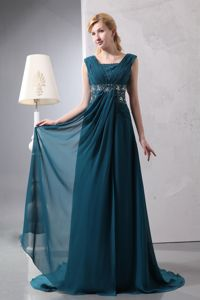 Dark Green Ruched Empire Court Train Dress for Formal Prom with Beading in Daphne