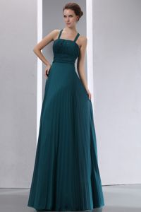 Peacock Green Pleated Empire Floor-length Prom Outfits with Criss-cross Back in Guin