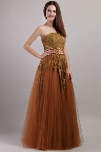Chocolate A-line Strapless Prom Dresses with Lace Up Back and Appliques in Cullman