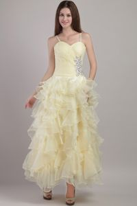 Light Yellow Straps Ankle-length Prom Dresses with Ruffles and Beading in Cherokee