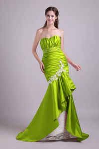 Green Ruched Sweetheart Mermaid Brush Train Prom Dress with Appliques in Brewton