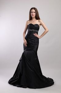 Ruched and Beaded Black Sweetheart Mermaid Prom Dress with Brush Train in Boaz