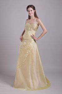 Sweetheart Champagne Beaded Princess Prom Gown with Lace Up Back and in Butler