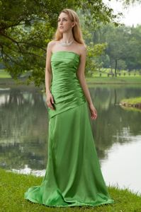 Delish Green Strapless Prom Dress Brush Train with Ruched Bodice