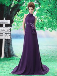 High Neck Appliqued Purple Sweep Train Prom Dresses Around 150