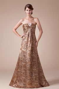 Recommended Brown Leopard Strapless Prom Outfits Floor-length