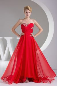 Discount Red Chiffon Sweetheart Prom Dress with Beaded Bodice