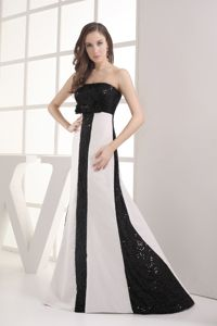 Two-toned Strapless Sequined Prom Gowns Floor-length with Bow