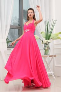 Beading Halter Top Prom Dress for Petite Girls Chiffon in Hot Pink