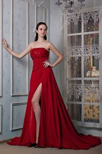 Wine Red Court Train Beading Prom Outfits with High Slit in Keele Staffordshire