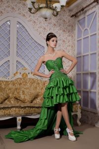 Green High-low Beaded Prom Dress with Ruffled Layers Around 150