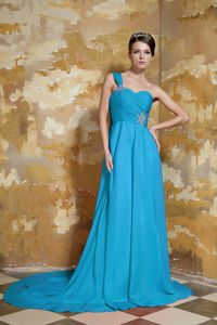 Single Shoulder Beaded Chiffon Prom Attire Watteau Train in Debenham Suffolk