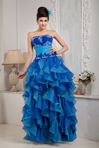 Two-toned Organza Ruffled Appliqued Prom Dresses for Petite Girls