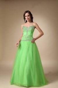 Custom Made Tulle Strapless Beading Prom Gowns in Spring Green