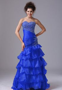 Blue Mermaid Beading and Ruched Prom Dress with Ruffled Layers
