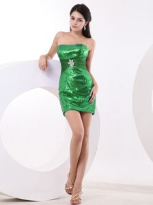 Sexy Green Sequined Strapless Short Prom Gown Dress with Bead