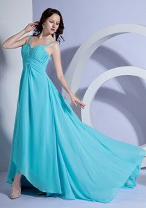 Brush Train Chiffon Spaghetti Straps Beaded Prom Dress for Girls