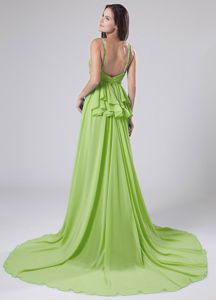 Spring Green Straps Chiffon Beaded Junior Prom Dress Brush Train
