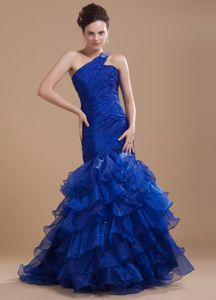 New Mermaid Style Royal Blue Prom Dresses with Ruche and Ruffle