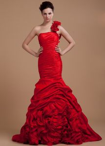 Red Mermaid Ruched and Ruffled Prom Dress for Slim Girls Cheap