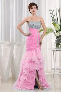 Fashion Mermaid Style Beaded Ruched Dress for Prom with Ruffles