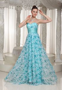 New Floor-length Floral Printing Sweetheart Prom Gowns with Sash